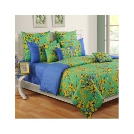 Swayam Green Floral  Colors of Life Bed Sheet - 2409