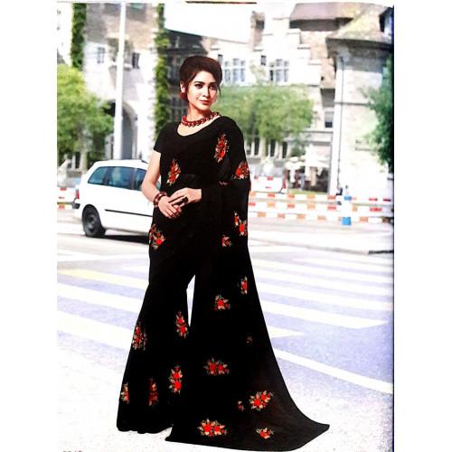 Subhash Sarees - Floral Work Black Georgette Saree - Nyassa 7