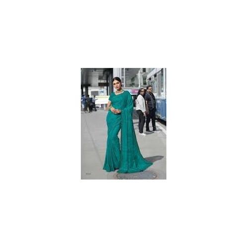 Subhash Sarees - Floral Work Green Georgette Saree - Nyassa 7